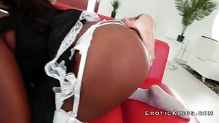 Big black booty riding fat and hard white horny cock