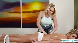 Kagney and Zoey in an oil massage turn into a hot lesbian sex
