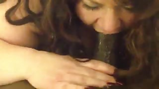 BBW takes huge black cock in mouth