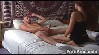 Curly-Haired Mary Caught Tonguing Cock & Hammered At Bed