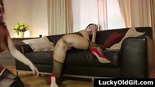 Teen slut in stockings ass fucked by older British dude in threesome