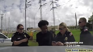 Two Hot Busty MILF Cops Arrested And Blackmailed a Young Black Stud