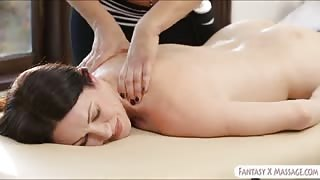 Massage that leads to intimate lesbosex on massage table