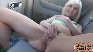 Dude was able fucked a dirty gal in rollerblades at the back of his car