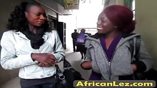 Adventurous African lesbians Abiona and Oseye hook up in bathroom