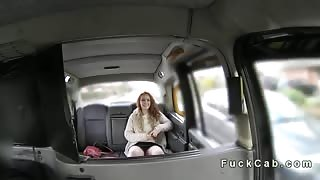 British redhead fucked in fake taxi
