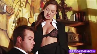 Brunette secretary Maddy OReilly gets fucked hard by his boss