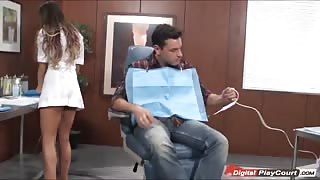 August plays dentist with a patient