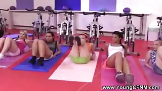 Sexy cfnm teens working out at the gym