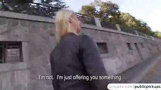 Blonde euro amateur Monika gets laid in public and receives cumshot