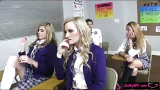 Four naughty schoolgirls get punished by their teacher