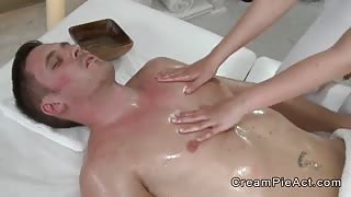 Tight masseuse banged to creampie in massage room