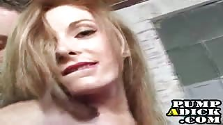 Petite blonde gets cum from handjob