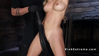 Busty Milf slave in bondage pussy fingered