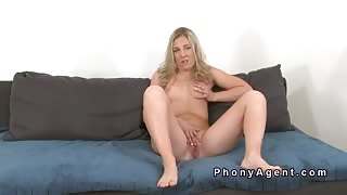 Horny blonde takes cock in casting