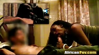 POV fucking with Hot African slut and big white cocked dude