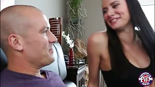 Bigtits brunette Kymberlee Anne shows her cock riding skills