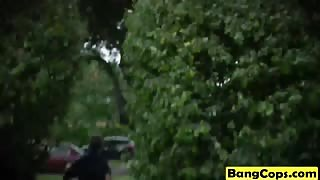 Slutty cops get banged by black stud outdoors
