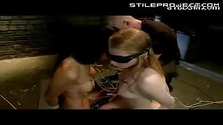 2 Blindfolded Girl Getting Tied Together and forced to eat ass