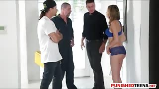Kinsley Eden pounded by three horny men in many positions