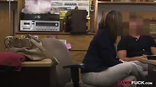 Busty business lady fucked by pawnkeeper at the pawnshop
