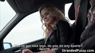 Blonde sexy chick Nishe gets fucked hard by the stranger with a big cock