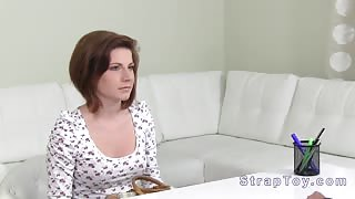 Female agent with strapon on casting
