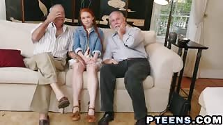 Tiny redhead Dolly Little gets pink pussy penetrated by old guy's boner