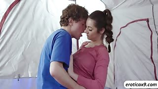 Petite busty teen Lily Adams fucks a huge cock in the tent