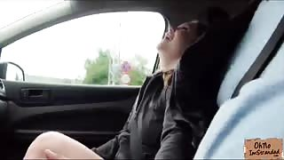 Gorgeous Russian hitchhiker chick gets fucked after sucking strangers cock