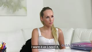 Female agent with strap on fuck casting