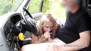 Busty blonde bangs banana in fake taxi