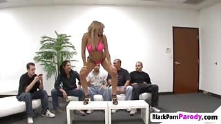 Ebony whore getting fucked hard by a big black cocked stud!