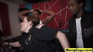 Black dude with big cock bang busty curvy horny cops