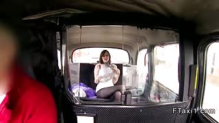 British brunette wanks and sucks in taxi