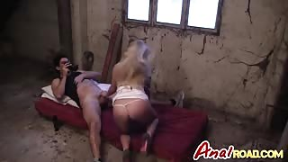 Anal pounding and POV blowjob with a blonde slut