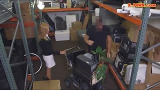Sexy blonde milf pounded in the backroom with pawnkeeper