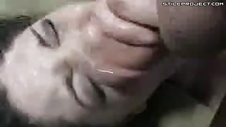 Forced Messy Cum Shot Into Her Mouth