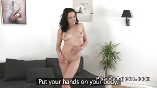 Brunette gets pussy creampie casting
