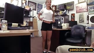 Cute amateur waitress pawns her muff and fucked by pawn man