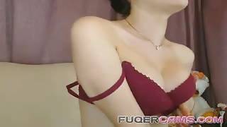 Petite college babe plays for her tight pussy