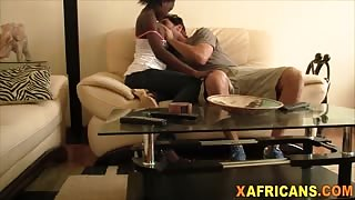 Hot African babe pounded by a big cocked stud hard