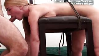 First time Babe Bound to Seat and Punished With Dick!