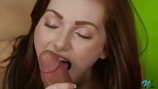 Cute redhead pussy stuffed full of thick cock