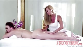 Redhead babes Karlie and Sandy in a hot lesbian spa sex