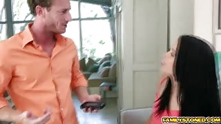 Alaina Kristar blowjobs her step bro deep throat