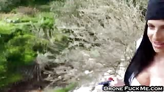 Jaclyn Taylor is caught fucking in the forest by spy cam
