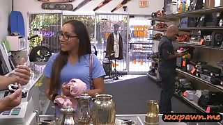 Pretty girl in glasses fucked by pawn man to earn extra cash