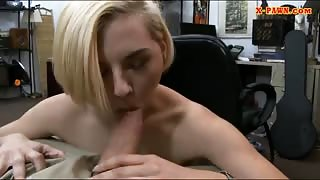 Short blonde hair babe drilled real good by pawn keeper