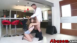 Brunette Teen Melissa Moore Abused By Fat Rod